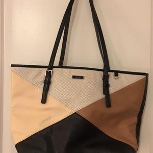 Nine West black/brown/cream tote purse